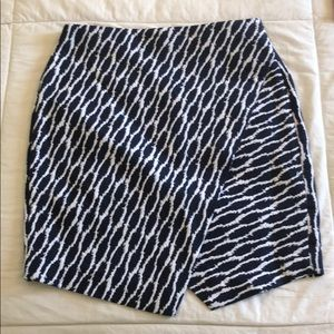 Loft blue and white asymmetrical mini skirt